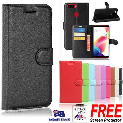 AU8.95 • Buy For Oppo A57 A73 R11S Plus R15 Premium PU Leather Wallet Flip Phone Case Cover