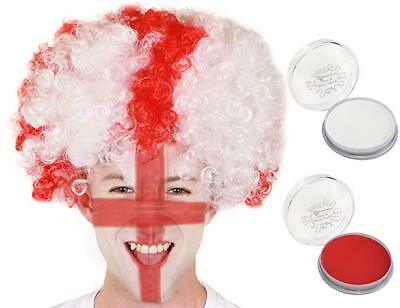 £5.99 • Buy England Red And White Wig With Face Paints World Cup 2018 Fancy Dress