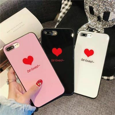AU9.95 • Buy Thin Be Loved Heart Girl Case Tempered Glass Cover For Apple IPhone 8 Plus 7 X 6