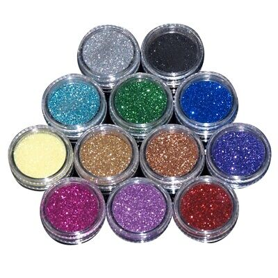 12 Colours Glitter Dust Powder Set For Nail Art Tips Decoration Crafts DIY • 4.10£
