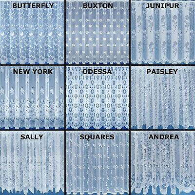 £3.49 • Buy White Lace Window Cheap Net Curtain. Sold By The Metre. In 12 Designs & 11 Drops