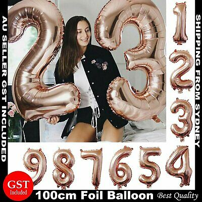 AU2.69 • Buy 100cm Rose Gold Foil Balloon Number Helium Jumbo Balloons Wedding Party Birthday