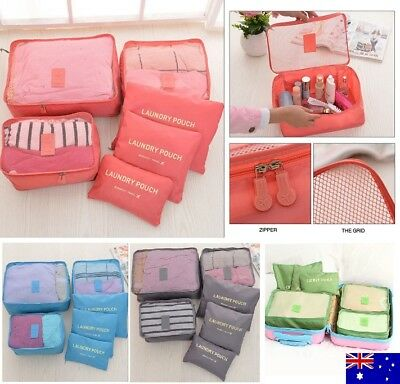AU9.95 • Buy 6pcs Packing Cubes Travel Luggage Organiser Clothes Suitcase Storage Bags Pouch