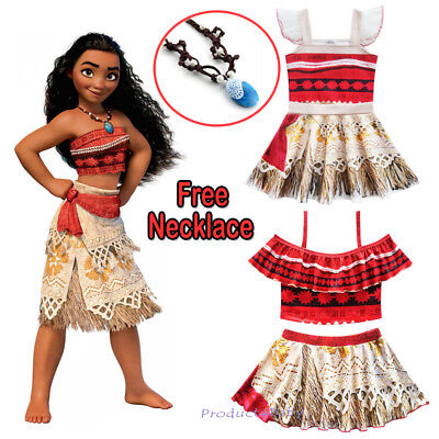 AU21.95 • Buy Kids Girls Dresses Moana Movie Princess Cosplay Costume Skirt With Necklace