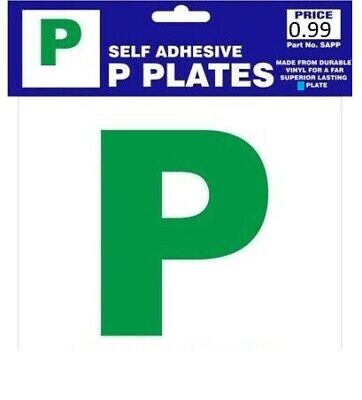 2 X SELF ADHESIVE GREEN NEW DRIVER SECURE P PLATES JUST PASSED FOR CAR VEHICLE • 1.99£