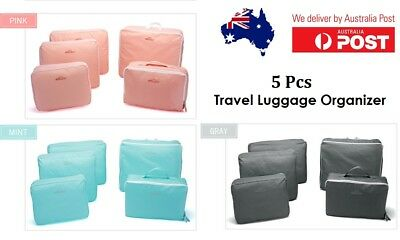 AU11.95 • Buy 5Pcs Packing Cubes Travel Luggage Organiser Clothes Suitcase Storage Bags Pouch