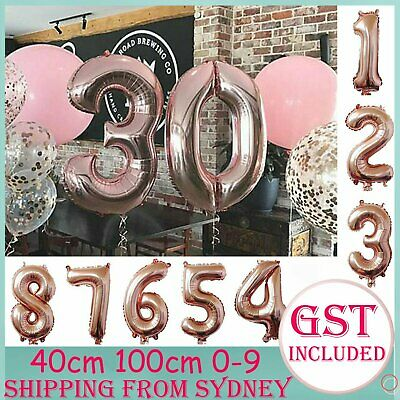 AU2.69 • Buy 40-100cm Rose Gold Foil Balloon Number 0-9 Helium Balloons Wedding Party Birthda