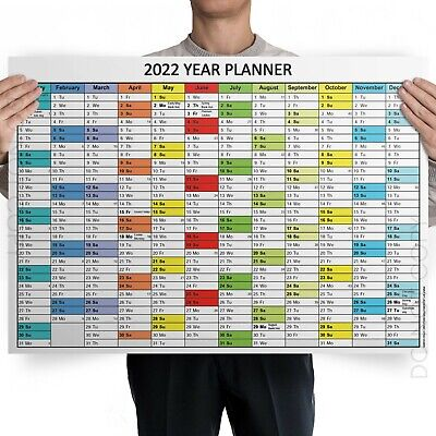 £1.99 • Buy 2022 Annual Year Wall Planner Plan Birthdays Holidays New Years | A4 A3 A2 A1