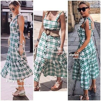 $49.99 • Buy Nwt Zara Ss18 Checkered Dress With Buttons Green Linen 9479/084_xs S M L Xl Xxl