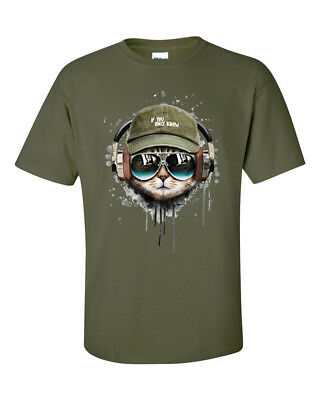 If You Only Knew DJ Headphone Sunglasses Army Tabby Cool Cat T-Shirt • 12.95£