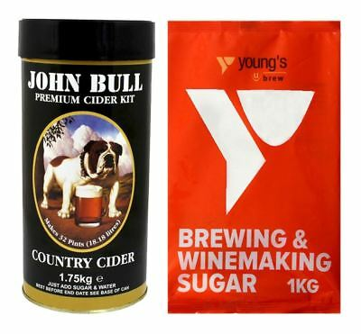 JOHN BULL 40 Pint Country Apple Cider Kit + 1kg Brewing Sugar - Home Brew • 24.99£
