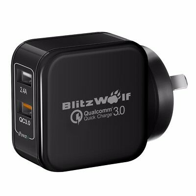 AU BlitzWolf QC3.0 Dual USB Quick Wall Charger Adapter Plug For IPhone Tablet • 23.73AU