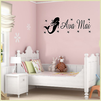 Girls Personalised Name Mermaid Wall Art Sticker Quote Bedroom Bathroom Decor • 7.99£