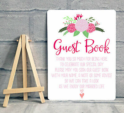 £8.95 • Buy A5 Guest Book Wishing Tree Hearts Drop Box Metal Table Sign Wedding - FLOWER