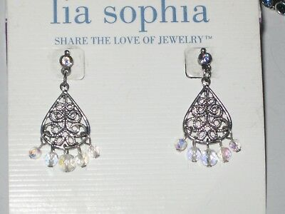 $ CDN20.07 • Buy Lia Sophia BLUE EVASION EARRINGS - LOTS OF SPARKLE - GORGEOUS AURORA BOREALIS