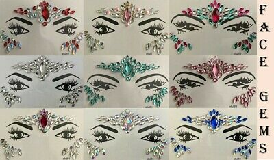 £3.99 • Buy Face Body Gems Stick On Adhesive Jewel Tattoo Wedding Festival Rave Makeup Party
