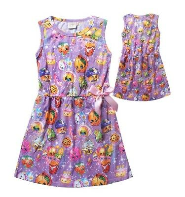 AU12.95 • Buy SHOPKINS Girl Dress Cotton Summer Sleevesless Birthday Dresses Size 1-7 Years