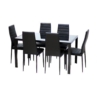 $269 • Buy 7 Piece Rectangular Dining Set Glass Table 6 Artificial Leather Chiars