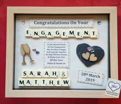 Personalised ENGAGEMENT GIFT Picture Frame Keepsake ENGAGED SCRABBLE  • 23.99£