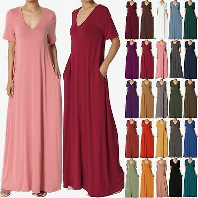 $23.99 • Buy TheMogan S~3X Casual V-Neck Short Sleeve Loose Fit Long Maxi Dress With Pockets