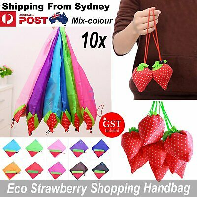 AU14.84 • Buy 10x Reusable Foldable Shopping Bags Grocery Travel Carry Bag Storage Strawberry