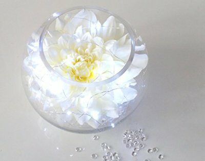 Light Up Flower Display Dahlia Head Fish Bowl Vase With Crystals & Battery Light • 24.95£