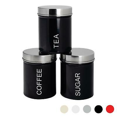 3x Tea Coffee Sugar Canisters Storage Set Kitchen Jars Containers Metal Black • 12.99£