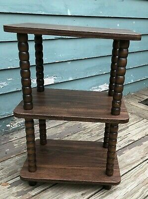 $49.99 • Buy Vintage 3 Tiered Wooden Wood Table Plant Curio Stand 24  Spindle Legs