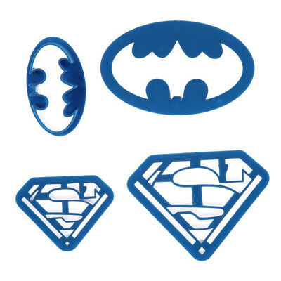 4Pcs/Set Baking Set Batman Superman Plastic Cookie Mold Fondant Cutting DIY Tool • 2.26£
