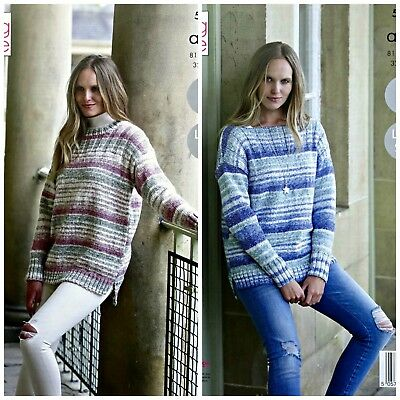 KNITTING PATTERN Ladies Easy Knit Jumpers 2 Lengths Drifter Aran King Cole 5267 • 3.95£