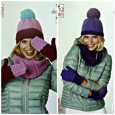 KNITTING PATTERN Ladies Cable Hat Mittens & Cowl DK King Cole 5264 • 3.95£