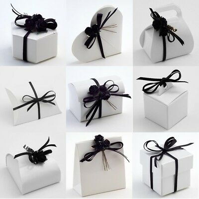 £6.37 • Buy Pure Brilliant White Glossy Wedding DIY Favour Party Gift Boxes