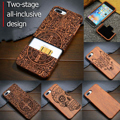 Real Natural Wooden Wood Bamboo Phone Case Hard Cover For IPhone X 8 7 6 6S Plus • 8.99£