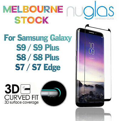 AU6.35 • Buy NUGLAS 3D Full Cover Screen Protector For Samsung Galaxy S9 S8 Plus S7 Edge