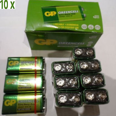 10 X GP GREENCELL EXTRA HEAVY DUTY 9V PP3 BATTERY • 6.32£