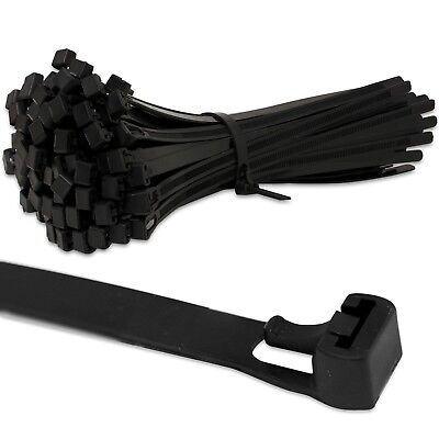 Black Releasable Reusable Strong Cable Zip Ties Wraps *~any Size & Quantity*~ • 3.39£