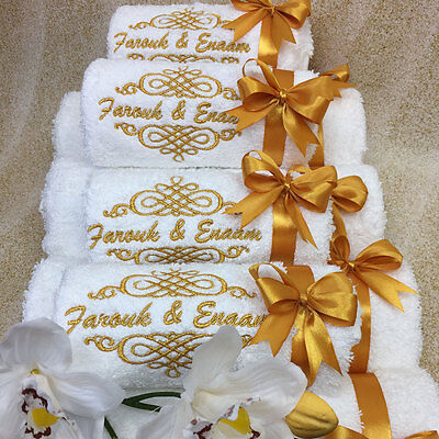 New EMBROIDERED PERSONALISED NAME BATH TOWEL Gift Set ANY NAME Combet Cotton • 16.99£
