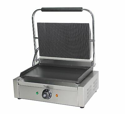 Commercial Panini Press Toaster Electric Sandwich Maker Machine Ribbed Top Grill • 999.99£