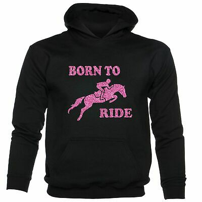 Born To Ride Horse Riding Funny Girls Equesterian Pony Kids Hoodie • 14.99£