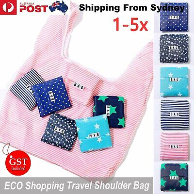 AU10.09 • Buy Up 5pc Reusable Foldable Recycle Grocery Shopping Carry Bags Tote Handbags Eco