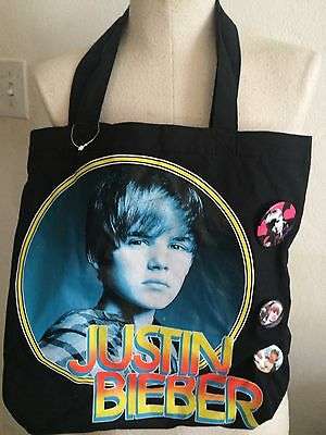 Justin Bieber Tote Bag With Three Lapel -hat, Pins, Buttons • 16.29£