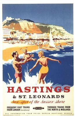 £5.13 • Buy Vintage British Rail Hastings Sussex Shore Railway Poster A4/A3/A2/A1 Print