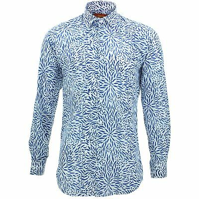 £19.95 • Buy Mens Shirt Loud Originals TAILORED FIT Floral White Retro Psychedelic Fancy