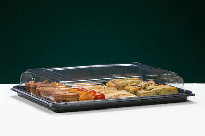 £22.40 • Buy Quality Disposable SMALL Black Sandwich Platter+Lids Food Trays Parties Buffet