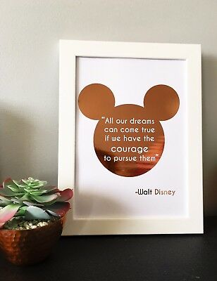 Foiled Disney Quote Real Rose Gold, Gold Foil Wall Art Sign Mickey Mouse Bedroom • 8.49£