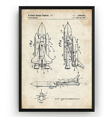 NASA Space Shuttle Patent Print - Vintage Poster Wall Art Decor Gift - Unframed • 9.60£