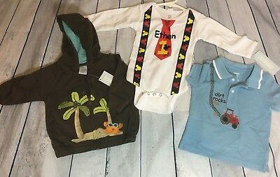 New Baby Boy 6 12m Customized First Birthday Shirt ETHAN Name MICKEY Gymboree O 1999