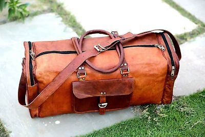 Leather Weekend Bag Genuine Travel Duffle Sports Cabin Gym Holdall Luggage Bag • 39.99£