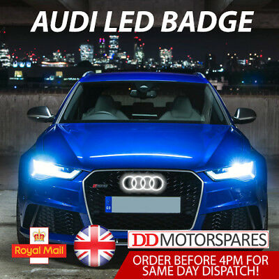 £39.94 • Buy Audi Led Badge A3 A4 A5 A6 White Light Front Grill Glow Logo Emblem Ring