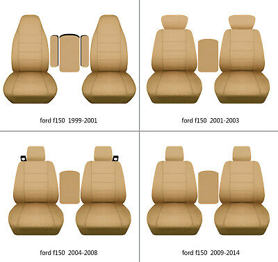 $107.99 • Buy Fits Ford F150 1999-2014 Cotton Car Seat Covers Tan Fr Bucket Seats+lid Cover